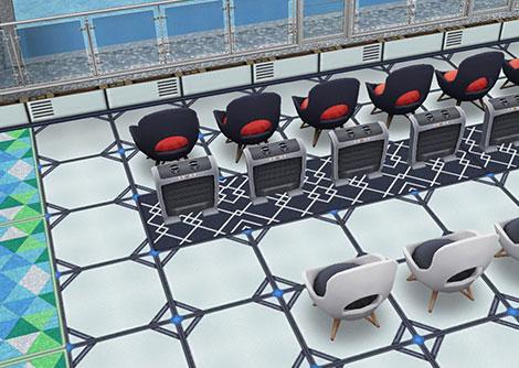 アイスホッケースタジアム1階スタンド席、選手用ベンチと観客席の間にある仕切りのつもり「最高にホットなヒーター」(The Sims フリープレイ)