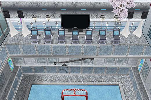 アイスホッケースタジアム2階、ゴール裏スタンド席(The Sims フリープレイ)