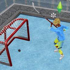 ホッケーネットでショットに打ち込むシム(The Sims フリープレイ)