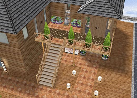 温泉郷シャレー、母屋の玄関外エリア。バルコニーに屋外階段が設置してある(The Sims フリープレイ)