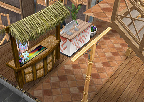 温泉郷シャレー、受付カウンターとバー(The Sims フリープレイ)