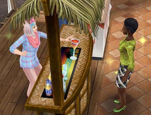 バーで、お客シムにドリンクを提供するシム(The Sims フリープレイ)