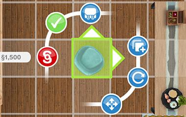 角度付きチェアの配置画面(The Sims フリープレイ)