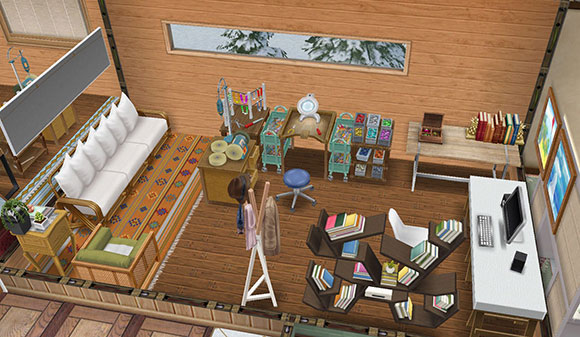温泉郷シャレー、個室のジュエリースタジオ(The Sims フリープレイ)