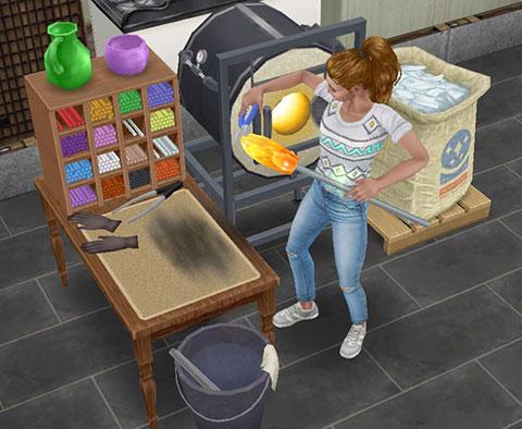 ガラス製品工作セットで熱々のガラスを成形するシム(The Sims フリープレイ)