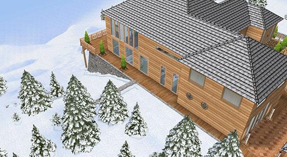 雪山に建つ温泉郷シャレー、外観(The Sims フリープレイ)