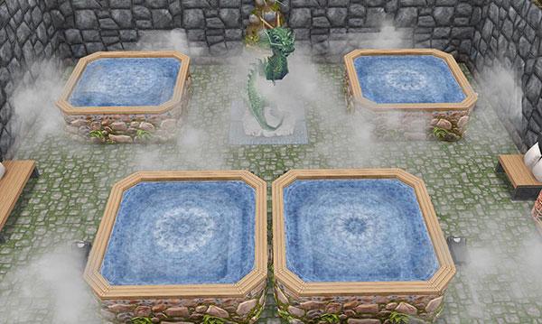温泉郷シャレー、龍の棲まう地下洞窟温泉(The Sims フリープレイ)