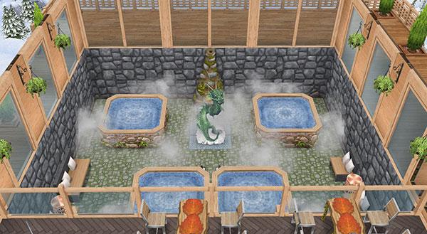 温泉郷シャレー、吹き抜けのある洞窟温泉(The Sims フリープレイ)