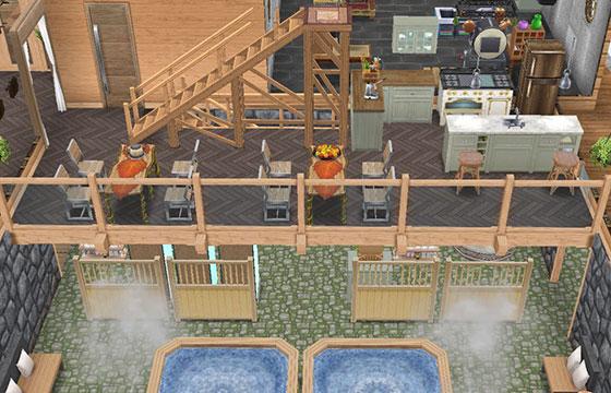温泉郷シャレー1階、吹き抜けのお食事処(The Sims フリープレイ)