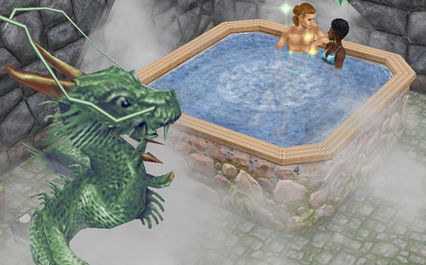 龍の棲まう洞窟温泉で入浴を楽しむ男女シム(The Sims フリープレイ)