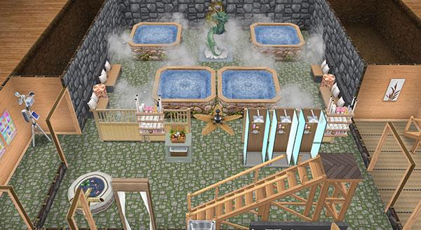温泉郷シャレー、大浴場(The Sims フリープレイ)