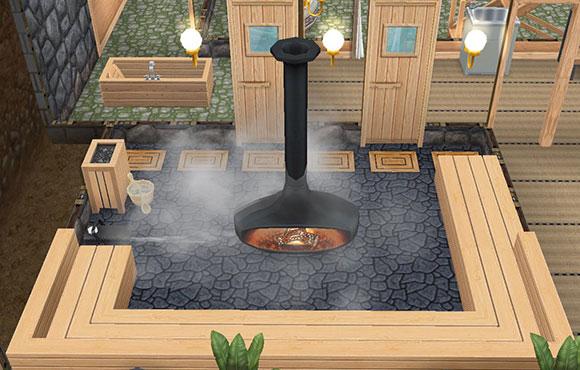 温泉郷シャレー、地下洞窟サウナ(The Sims フリープレイ)
