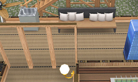 温泉郷シャレー、畳廊下の休憩所(The Sims フリープレイ)