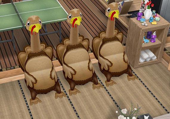 畳廊下で、のぼせて休む七面鳥3兄弟(The Sims フリープレイ)