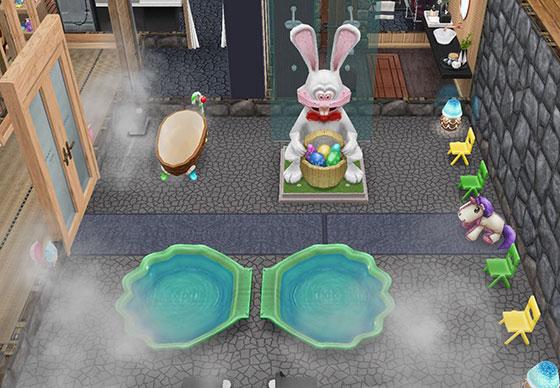 温泉郷シャレー、地下洞窟の子ども用うさぎ温泉(The Sims フリープレイ)
