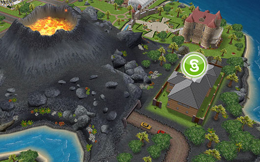 火山と温泉郷シャレー(The Sims フリープレイ)