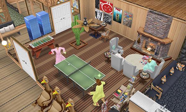 温泉郷シャレー、娯楽室(The Sims フリープレイ)
