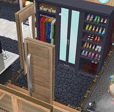 温泉郷シャレー、地下洞窟の客室玄関(The Sims フリープレイ)