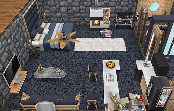 温泉郷シャレー、地下洞窟の客室(The Sims フリープレイ)