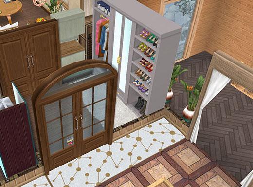 温泉郷シャレー2階スイートルームの客室玄関(The Sims フリープレイ)
