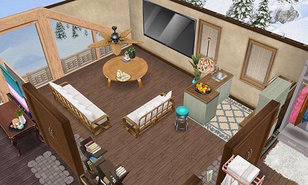 温泉郷シャレー2階スイートルームのリビングルーム(The Sims フリープレイ)