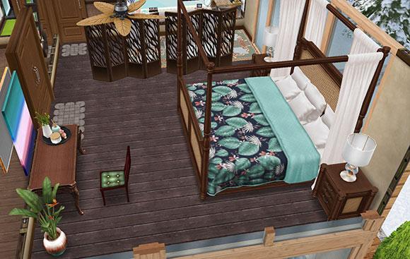 温泉郷シャレー2階スイートルームのベッドルーム(The Sims フリープレイ)