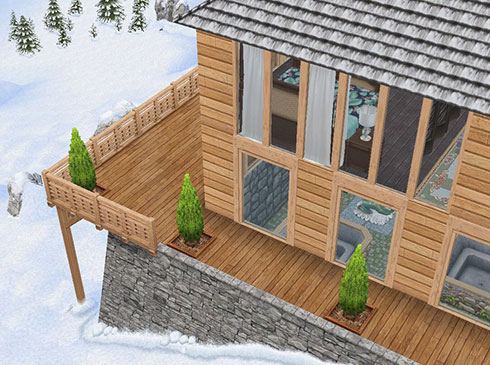 温泉郷シャレー外観。邸宅ベッドの天蓋カーテンが、窓のカーテンのように見える(The Sims フリープレイ)