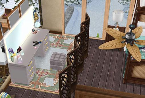温泉郷シャレー2階スイートルームのベッドルームにある化粧台(The Sims フリープレイ)