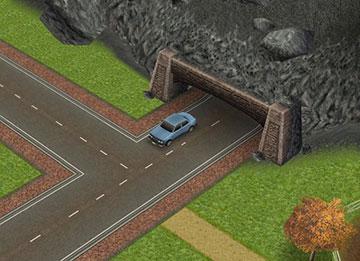 火山のトンネルから出てくる車(The Sims フリープレイ)