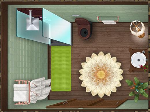 温泉郷シャレー2階スイートルームのプライベートバスルーム(The Sims フリープレイ)