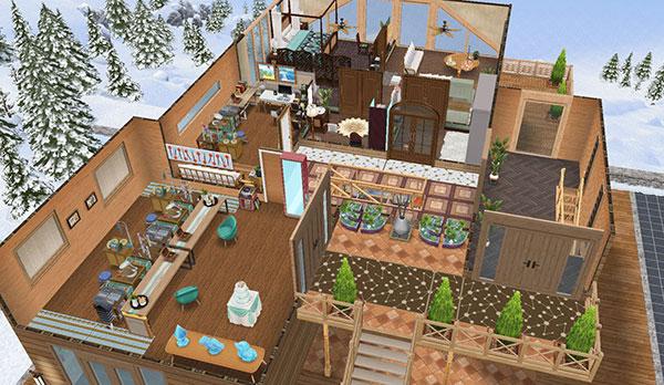 温泉郷シャレー2階、全体図(The Sims フリープレイ)