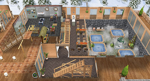 温泉郷シャレー母屋1階、全体図(The Sims フリープレイ)