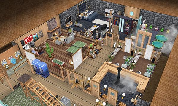 温泉郷シャレー地下、娯楽室側の全体図(The Sims フリープレイ)