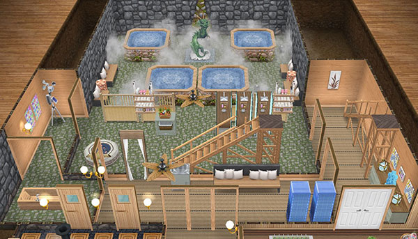 温泉郷シャレー地下、洞窟温泉側の全体図(The Sims フリープレイ)