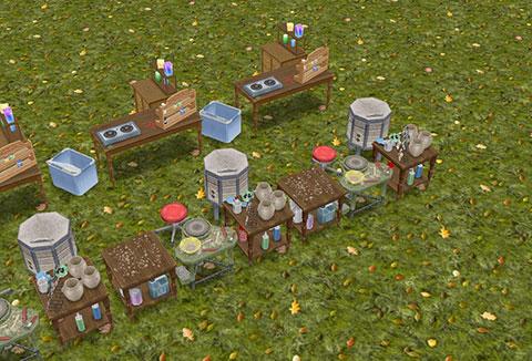 原っぱに並ぶ「キャンドル工作セット」と「陶器工作セット」(The Sims フリープレイ)