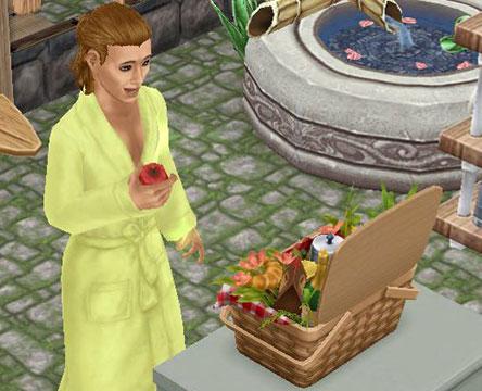 邸宅のピクニックバスケットで、りんごに喜ぶシム(The Sims フリープレイ)