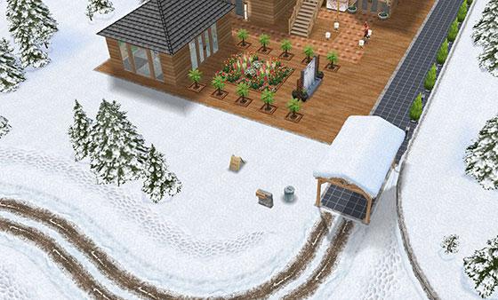 温泉郷シャレー、車道(The Sims フリープレイ)
