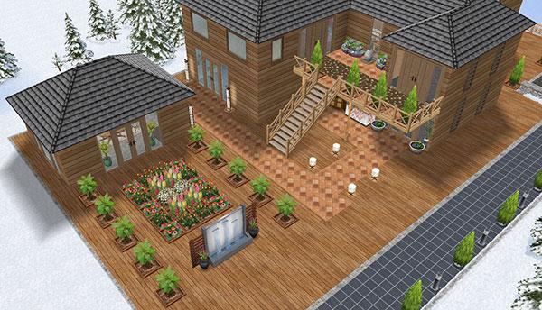 温泉郷シャレー、正面玄関エリア(The Sims フリープレイ)