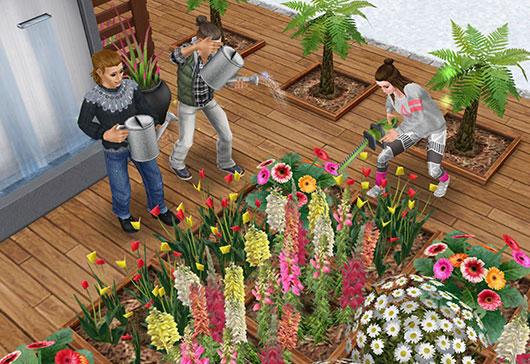 花壇の手入れに励むシムたち(The Sims フリープレイ)