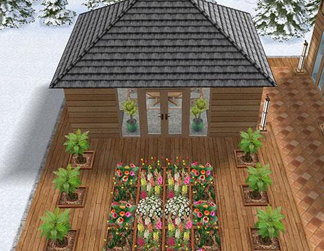温泉郷シャレー、ウェルカムガーデンと離れ小屋(The Sims フリープレイ)