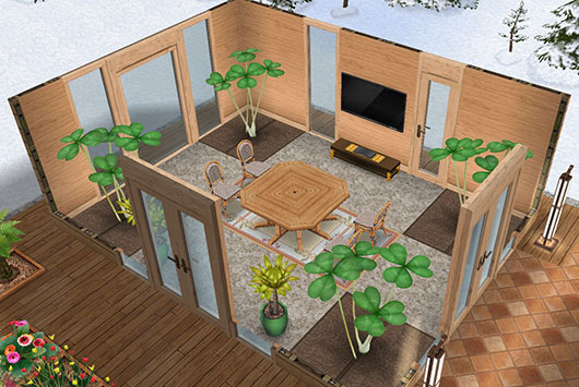 温泉郷シャレー、談話室(The Sims フリープレイ)