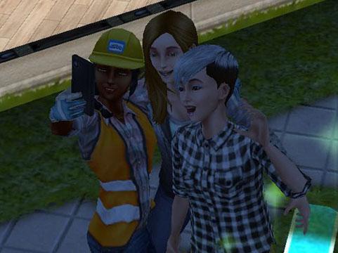 中二階クエストキャラクタ、ブリー&スーと記念撮影(The Sims フリープレイ )