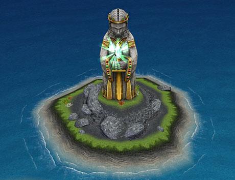 不思議の島エリアにあるモニュメント「古代の女神」完成像:全身(The Sims フリープレイ )
