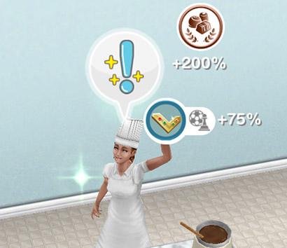 「チョコレート作り」ホビーで、趣味スキル%と古代の女神ボーナスを獲得する大人シム(The Sims フリープレイ )