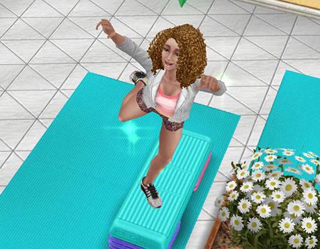 ノリノリでエアロビクスに励む大人シム(The Sims フリープレイ )