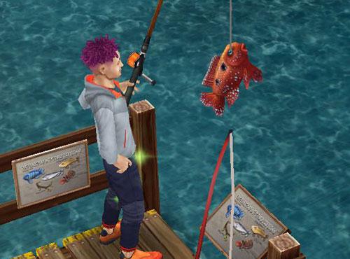 魚を釣り上げた大人シム(The Sims フリープレイ)