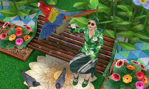 趣味「鳥のエサやり」で、きれいなインコに感動するシニアシム(The Sims フリープレイ )