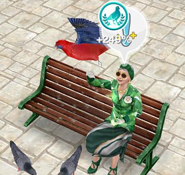 「鳥のエサやり」ホビーで趣味スキル%を獲得するシニアシム(The Sims フリープレイ )