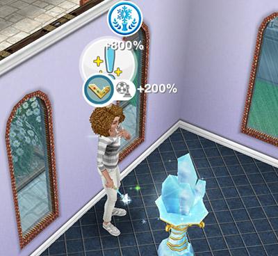 「氷の彫刻」ホビーで、趣味スキル%と古代の女神ボーナスを獲得する大人シム(The Sims フリープレイ )