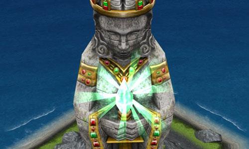 不思議の島エリアにあるモニュメント「古代の女神」完成像:顔と手元(The Sims フリープレイ )